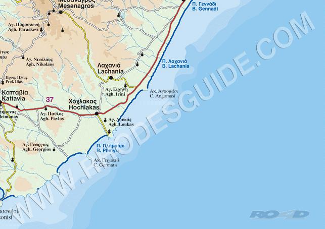 Rhodes Rhodos Rodos Greece Map