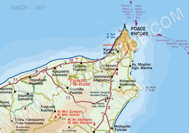 Rhodes Rhodos Rodos Greece Map