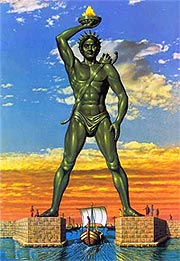 The colossus of Rhodes, as it was - incorrectly - imagined standing at the entrance or Mandraki harbour.