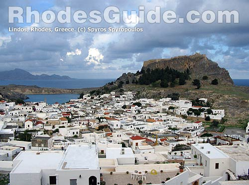 Lindos in winter, Rhodes, Greece.