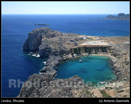 Lindos, Rhodes - view to the beach of Agios Pavlos from the Acropolis