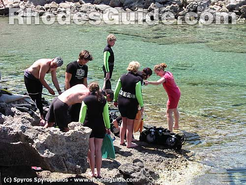 Preparing for Scuba Diving in Kalithea, Rhodes Greece