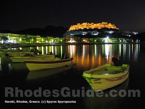 Rhodes Greece: Haraki (Charaki) by night