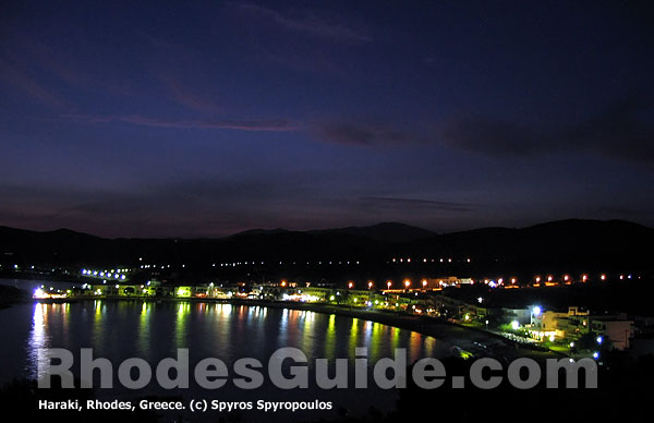 Rhodes Greece: Haraki (Charaki) by night