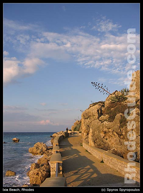 Footpath for walks, connects Ixia bay with Rhodes town