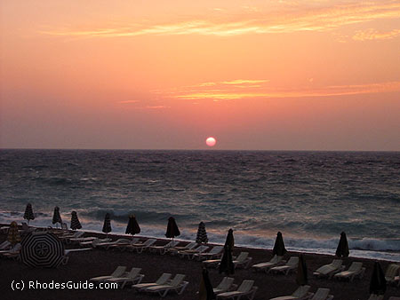 Ixia beach, sunset, Rhodes Greece