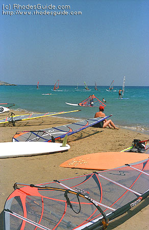 Prasonisi, a paradise for windsurfers, Rhodes Greece