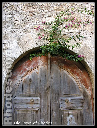 An old wooden door in the Old town of Rhodes