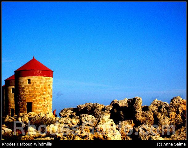 Rhodes Greece photo gallery: Windmills, Rhodes Harbour