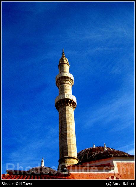 Minaret overlooking Rhodes Old Town (Medieval City)