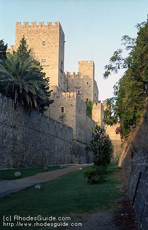 Looking toward the Grand Masters Palace from the city moat, Rhodes, Greece