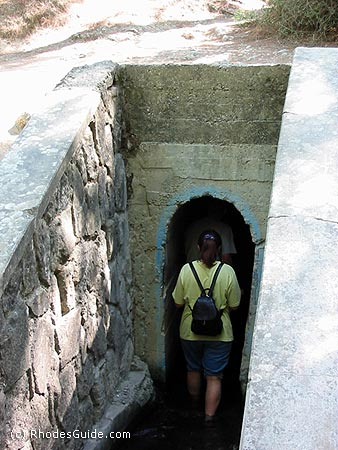 7 Springs (Epta Piges), Rhodes, Greece. Entrance to the tunnel which leads to the lake