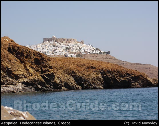 Astipalea, Dodecanese islands, Greece. View of the Chora and the southern.