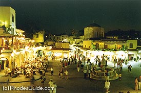 The Medieval City of Rhodes by night.