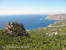 The castle of Monolithos, build on an imposing rock. The sunsets there can be majestic!